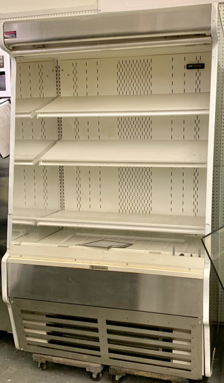 """USED Structural Concepts Self-Service Refrigerated Case, 47-1/4""""W, 79-3/4""""H, self-contained refrigeration system, non-lit adjustable metal shelves. 115/230V."""