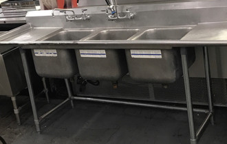 "USED LEFT TO RIGHT OPERATING DISH TABLE WITH POT SINKS. 88""W. 16"" X20"" BAYS."