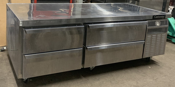 """Freezer Griddle Stand, two-section, (4) drawers, two drawers accommodates (1) 12"""" x 20"""" x 6"""" & (1) 6"""" x 20"""" x 6"""", two drawers accommodates (2) 12"""" x 20"""" x 6"""", stainless steel top with drip guard marine edge, stainless steel exterior & interior, electronic control with digital display, hi-low alarm, high/low temperature alarm, self-contained refrigeration, 1/3 HP, 10' cord, cETLus, NSF, Made in USA"""