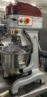 USED AXIS Planetary Mixer, 20 quart capacity, #12 hub, floor model, gear driven, (3) speed controls, side mounted controls, silent operation, includes: stainless steel bowl & guard, wire whip, aluminum flat beater & dough hook, 0.5 HP, ETL-Sanitation, cETLus