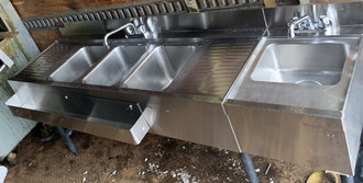 USED 3 bay bar sink with with hand sink