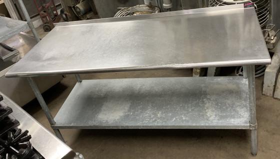 USED STAINLESS STEEL TABLE W UNDER SHELF & BACK SPLASH