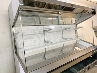 "USED MARC REFRIGERATION Produce Display Case, self-service, 94-1/2"" L, deck with dividers, (2) white epoxy coated wire baskets, dry storage bin lower front, mirror stainless steel trim, white interior, end panels with Plexiglas, night shades. remote refrigeration"