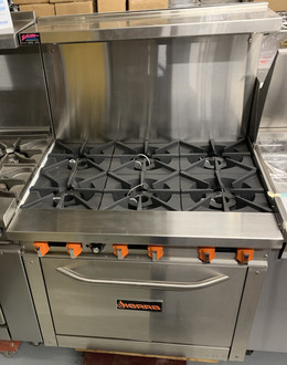 "NEW Sierra Range, natural, gas (has LP conversion kit), 36"", (6) 30,000 BTU open burners, manual controls, (1) 32,000 BTU standard oven with porcelain deck & door interior, adjustable oven thermostat, back riser with shelf, stainless steel interior & exterior, galvanized back, (4) 6"" adjustable legs, pressure regulator, 212,000 BTU total, cETLus, ETL-Sanitation"