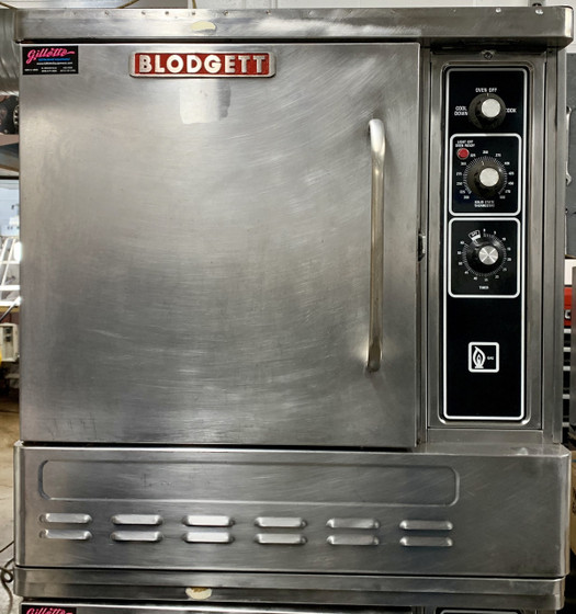 """USED BLODGETT Convection Oven, natural gas, half-size, single-deck, capacity (5) 13"""" x 18"""" pans, (SSI-M) solid state infinite controls with electro-mechanical timer, 1-speed fan, interior light, single door with dual pane thermal glass, stainless steel front, sides & top, 4"""" stainless steel legs, 1/2 HP, 27,500 BTU, ETL, NSF, CE"""