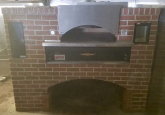 "USED MARSAL Wave Flame Oven, gas-fired, 36"" x 54"" wide cooking surface, 40,000 BTU side burner, wave design brick lined ceiling, front view window, stainless steel top & sides, stainless steel shelf, 155,000 BTU"
