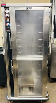 "USED FWE MTU-12DL Heated Cabinet, dutch lexan doors, mobile, (12) pair universal tray slides, (12) 18"" x 26"" or (24) 12"" x 20"" pan capacity 4-1/2"" OC, adjustable on 1-1/2"" increments, insulated, moisture-temp system, electronic controls, insulated, removable water reservoir, (1) flush mounted door, stainless steel interior & exterior, 5"" casters (2) rigid & (2) swivel with brakes, NSF."