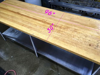 USED 8' BUTCHER BLOCK TABLE WITH S/S LEGS AND UNDERSHELF