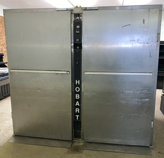 "USED HOBART PROOFER/WARMER  Holds 2 Double Racks or 4 Single Racks Electric Specs: 208-240v/60hz/1ph I.D: 33 1/2"" W x 47"" D x 75"" H each side O.D: 87 1/2"" W x 55"" D x 79"" H"