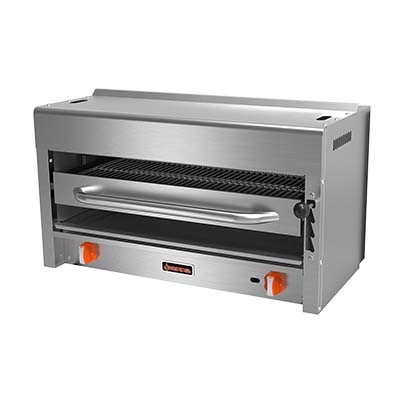 "Sierra Salamander Broiler, natural gas, 36""W, (2) in-fared 20,000 BTU burners, manual controls, chrome plated rack with (4) roll out heights, drip tray, stainless steel exterior, pressure regulator, pressure regulator, 40,000 BTU total"