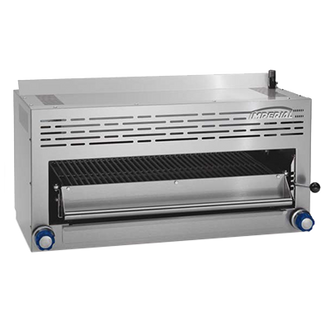 "NEW! (small dent on back) IMPERIAL ISB-36 Restaurant Series Range Match Salamander Broiler,  natural gas, 36"", infrared burners, individual controls, removable (4) position broiler grid, stainless steel front, sides, top & bottom, 40,000 BTU, NSF"