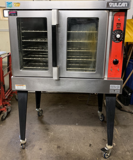 """USED VULCAN Convection Oven, natural gas, single-deck, standard depth, solid state controls, electronic spark igniter, 60 minute timer, (5) nickel plated racks, 25-3/4"""" high legs, stainless steel front, top and sides, stainless steel door with window, 50,000 BTU, NSF, CSA Star, CSA Flame"""