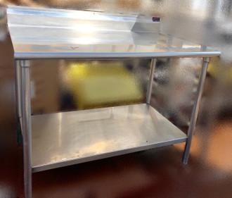 """Work Table, 48""""W x 30""""D, 16 gauge 304 stainless steel top with 5""""H backsplash, 18 gauge stainless steel adjustable undershelf, stainless steel legs & adjustable bullet feet, NSF"""