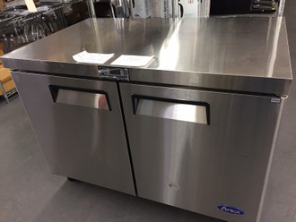 "NEW SCRATCH AND DENT - FULL FACTORY WARRANTY - Atosa Undercounter Freezer, reach-in, two-section, 48.23""W x 30""D x 34.1""H, rear-mounted self-contained refrigeration, 13.88 cu. ft., (2) locking hinged solid door, digital temperature control, -8° to 0°F temperature range, (1) adjustable shelf, automatic evaporation, electric  defrost, stainless steel interior & exterior, galvanized steel back, 2-1/2"" casters, 1/4 HP, 115v/60/1-ph, 2.6 amps"