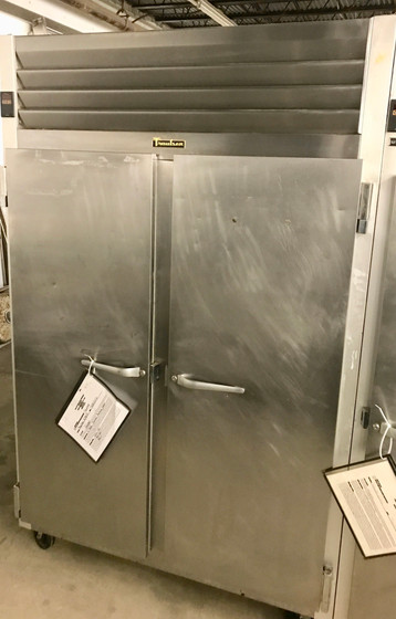 """USED Dealer's Choice Freezer, Reach-in, two-section, 46.0 cu. ft., self-contained refrigeration, stainless steel front & full height solid doors (hinged left/right), anodized aluminum sides & interior, 6"""" high casters, 115V NSF"""