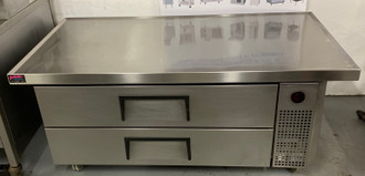 "USED TRUE Refrigerated Chef Base, 51-7/8""L base, 60""L one-piece 300 series 18 gauge stainless steel top with V edge, stainless steel front/sides, aluminum back, aluminum interior with stainless steel floor, (2) drawers  4"" castors, 1/3 HP, 208v 3 PHASE 23 amps, MADE IN USA"