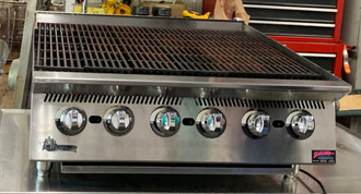 "USED STAR Ultra-Max® Charbroiler, natural gas, 36""L, 30-5/8""D, 18""H, steel radiants, adjustable manual controls every 6"", welded steel frame with  stainless steel exterior, cast iron broiling grates, drip pan, splash guard & grease trough, 4"" legs, 120,000 BTU, cULus, UL EPH Classified, Made in USA"