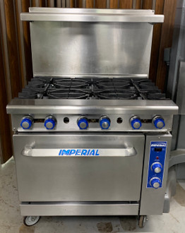 "Restaurant Range, gas, 36"", (6) open burners, convection oven, (3) chrome racks, removable crumb tray, stainless steel front, sides, backguard, landing ledge & kick plate, 6"" legs, adjustable feet, 1/4 HP, 222,000 BTU, NSF, CE, CSA Flame, CSA Star"