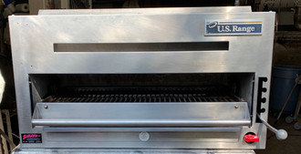 "USED US RANGE Salamander Broiler, NAT gas, countertop, 34"", flame failure protection, (3) position spring-balanced rack assembly, removable grease pan, rear gas inlet, stainless steel front, sides and top, 4"" legs, 28,000 BTU, NSF"