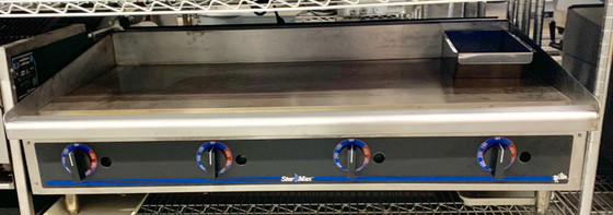 """USED STAR MAX Heavy Duty Griddle, propane gas, countertop, 48"""" W x 21"""" D cooking surface, 1"""" thick polished steel griddle plate, embedded modulating thermostat every 12"""", heavy duty knobs, wrap-around stainless steel splash guard, grease trough & stainless steel drawer, welded steel frame with stainless steel front,  4"""" legs, 113,200 BTU, cULus, UL EPH Classified, Made in USA"""