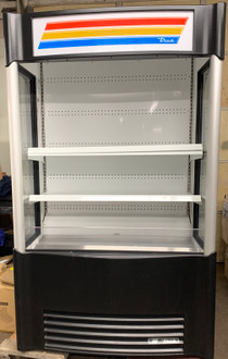 """USED TRUE Vertical Air Curtain Merchandiser, 48""""W, 80-5/8""""H, (4) white PVC-coated shelves, LED interior lighting, vinyl exterior, white aluminum interior with stainless steel floor/deck pans, leg levelers, 1-1/2 HP, 208-230v/60/1-ph, 12.0 amps, NEMA 6-15P, cULus, CE, UL EPH Classified, Made in USA"""