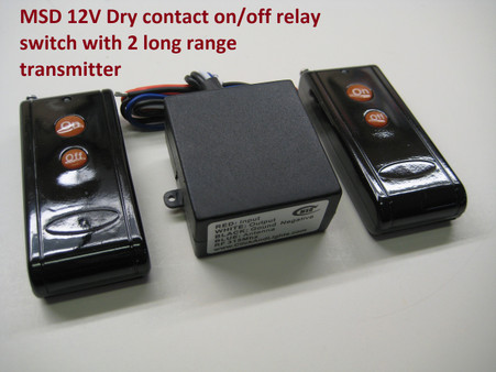 "12v switch equip with 15A mechanical relay. switch housing dimension is 1 7/8"" x 1 7/8"" x 1"" (4.7cm x 4.7cm x 2.5cm). Operating Bandwidth is 315mhz. Programmed with its own frequency code so no interfere with other set nearby.  long range remote transmitter included with an extra remote for spare."