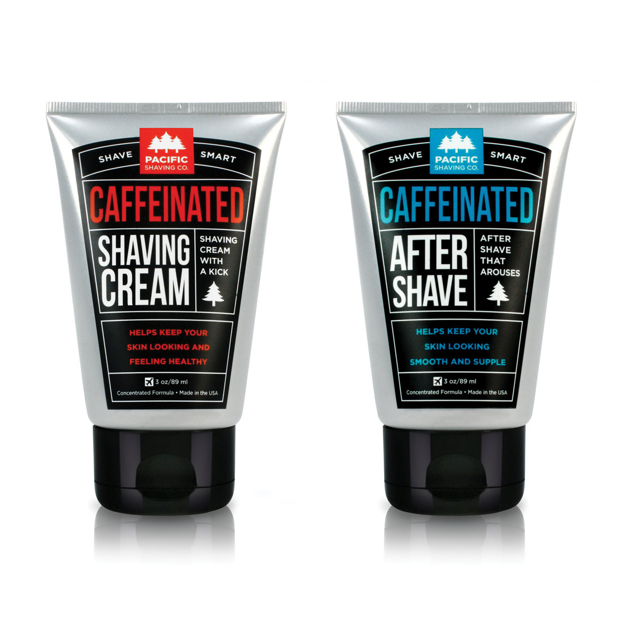 Caffeinated Shaving Set by Pacific Shaving Company. This outstanding aftershave moisturizer utilizes the many benefits of naturally-derived caffeine to help liven up your morning shave routine. It will give you an exceptional shave, help reduce the appearance of redness, and keep your skin looking and feeling healthy all day. It may not replace your morning coffee, but it will give a little extra kick to your morning routine. A little goes a long way.