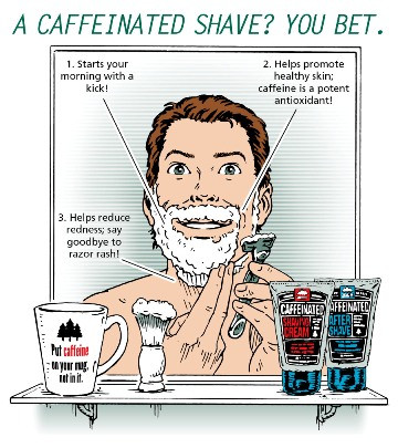 BENEFITS OF A CAFFEINATED SHAVE. (1) It is high in antioxidants: Helps keep skin looking and feeling healthy. (2) It is a vasoconstrictor: Helps reduce redness and soothe skin. (3) It can penetrate skin and absorb into your blood: Start your morning with a kick!