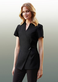 Polyester Stretch Modern Wrap Style Tunic for Spa