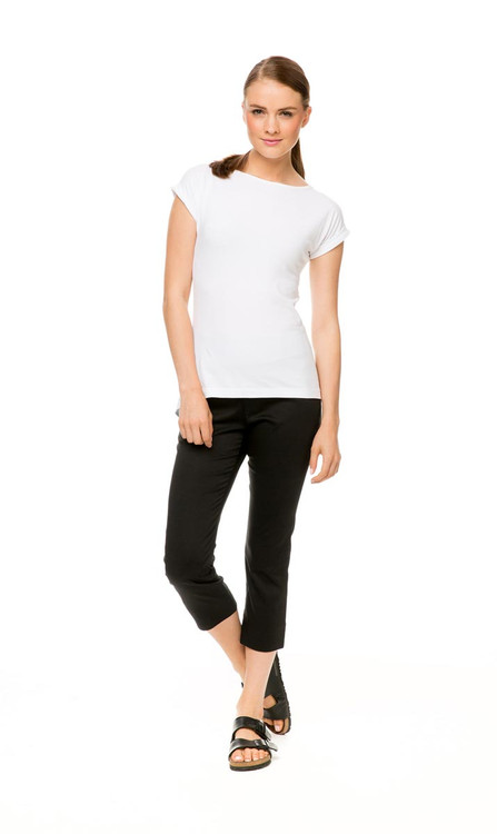 Knit Tee Classic in white, shown with Capri Pant in black