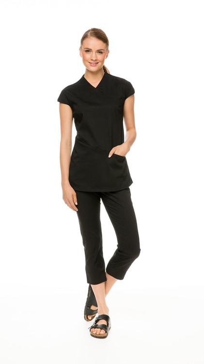 Asymmetric Tunic in black, with Capri Pant in black