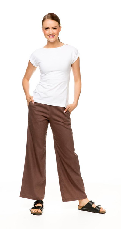 Hemp Pant in cinnamon with Knit Tee Classic in white
