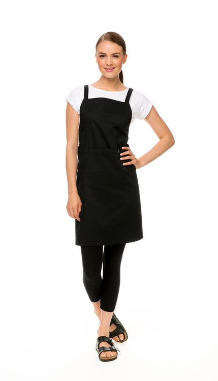 Apron in black, with Knit Tee Classic in white and Legging in black