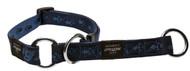 Rogz Alpinist Large 20mm K2 Web Half-Check Dog Collar, Blue Rogz Design(HBC25-B)