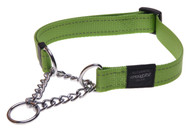 Rogz Utility Obedience Half-Check Dog Collar, Lime Reflective(HC11/06/05-L)