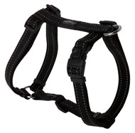 Rogz Utility Large 20mm Fanbelt Dog H-Harness, Black Reflective