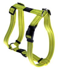 Rogz Utility Large 20mm Fanbelt Dog H-Harness, Dayglo Yellow Reflective