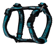 Rogz Fancy Dress Medium 16mm Scooter Dog H-Harness, Turquoise Chrome Design
