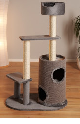 cb Pluto cat tree grey with barrel & holes