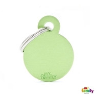 My Family basic engraved tag small round green
