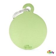 My Family basic engraved tag big round green