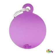 My Family basic engraved tag big round purple