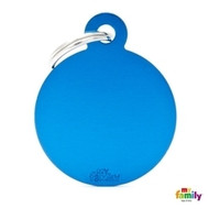 My Family basic engraved tag big round blue