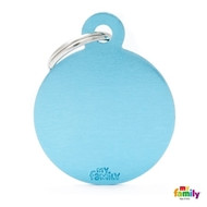 My Family basic engraved tag big round light blue