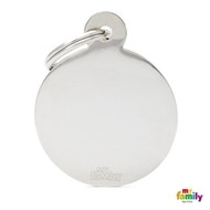 My Family basic engraved tag big round chrome