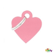 My Family basic engraved tag small heart pink