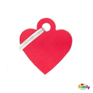 My Family basic engraved tag small heart red