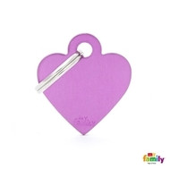 My Family basic engraved tag small heart purple