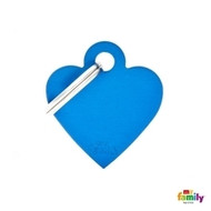 My Family basic engraved tag small heart blue