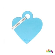 My Family basic engraved tag small heart light blue